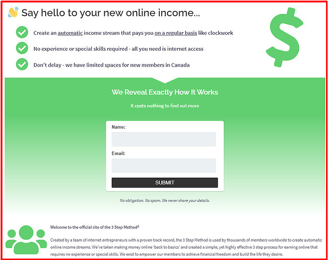 Is The 3 Step Method A Scam? Say hello to your new online income